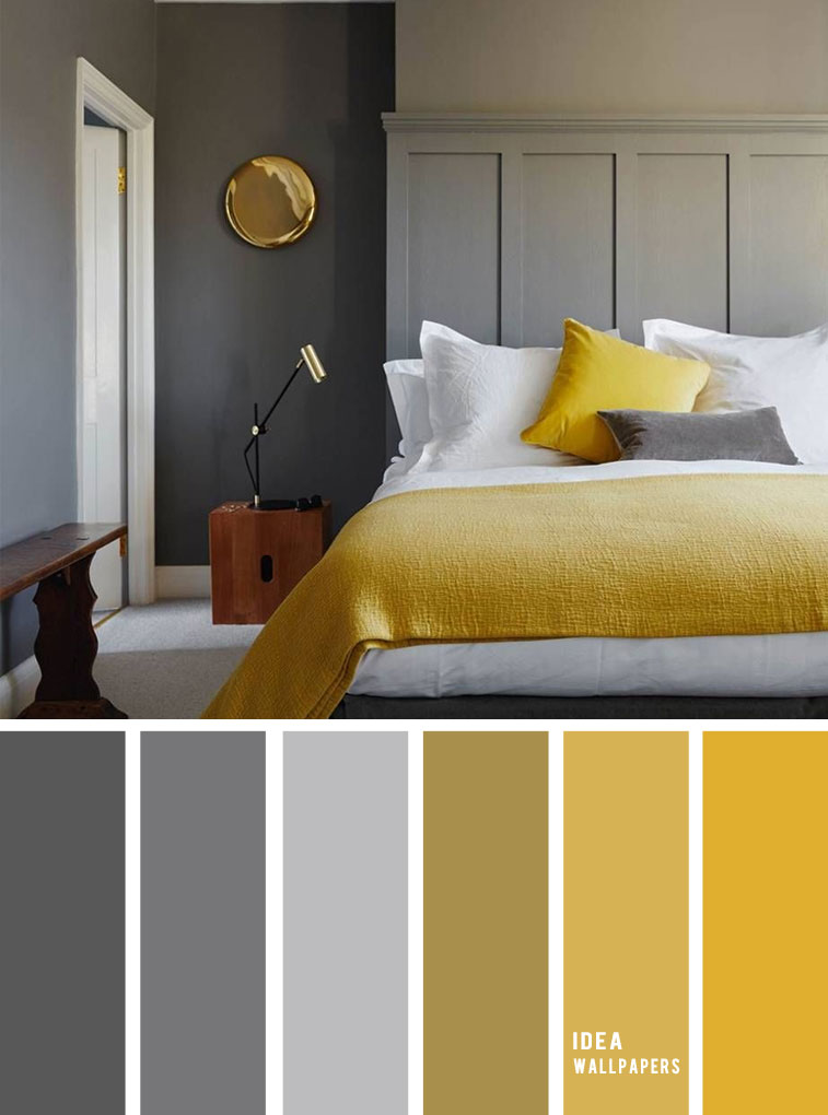 10 Best Color Schemes for Your Bedroom { Blue Grey + Mustard } With gold accents - mustard color bedroom, grey color palette, colour palette #color #colorpalette #bedroom