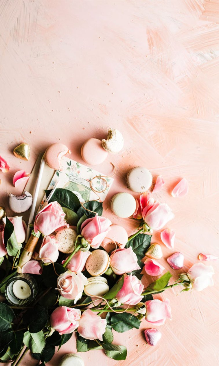 Blushing Roses and macarons