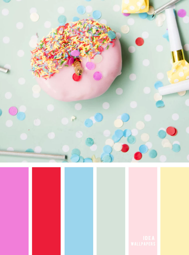 Color inspiration : Red + Pastel color palette #color #colorinspiraiton #pastel donut inspired color combo