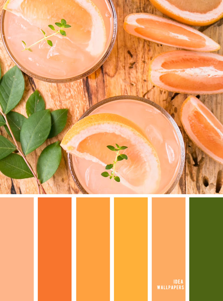 Green + orange + peach + yellow color combinations - summer color palette #color #colorinspiration #colors