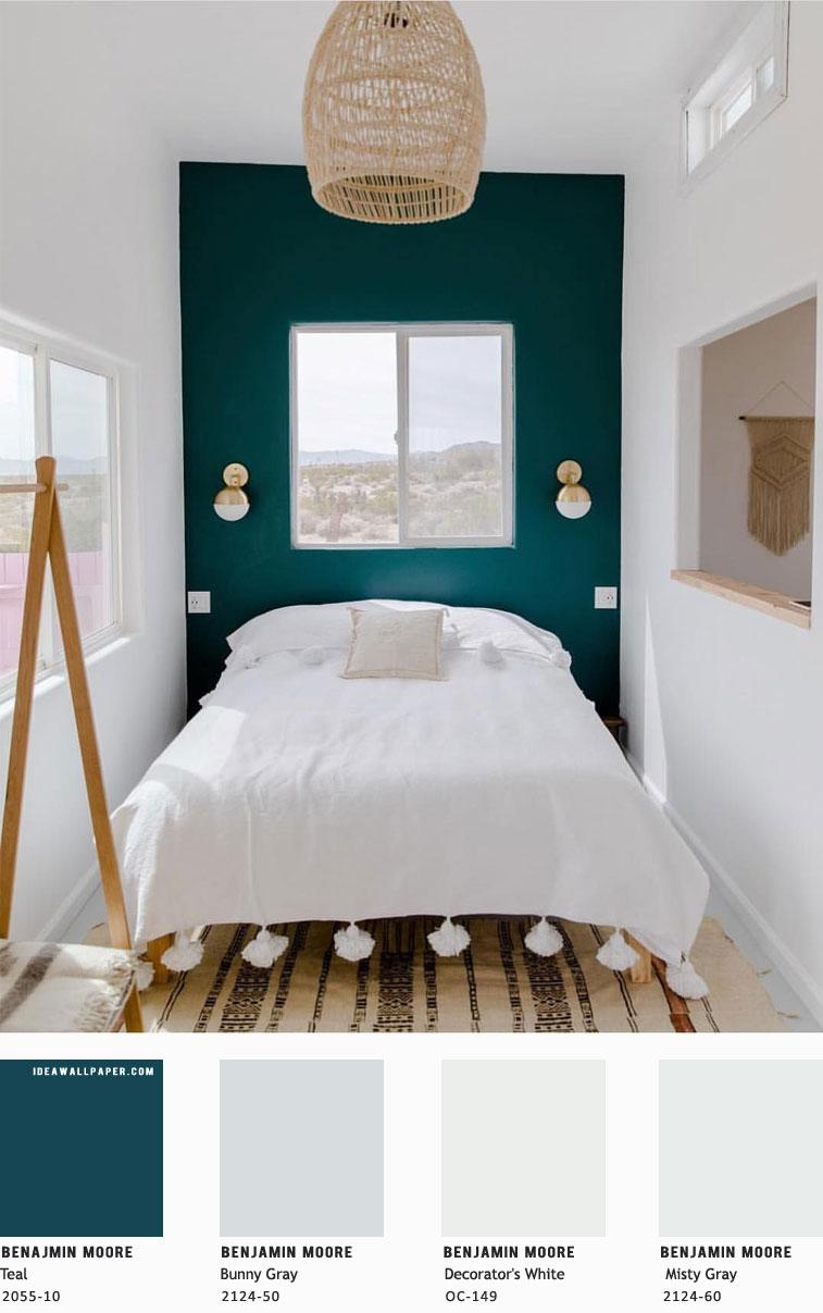 Beautiful bedroom color scheme { Teal + Misty Gray - Benjamin Moore } #color #homepainting #homewall #teal #bedroom