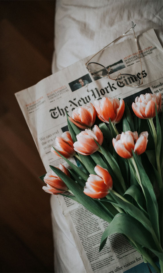 The New York Times & Tulips, tulips, flowers, iphone wallpaper, newspaper and flowers
