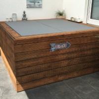 Aufblasbarer Outdoor Whirlpool auf Terrasse/Balkon mit selbstgebauter Verkleidung und Isolierung