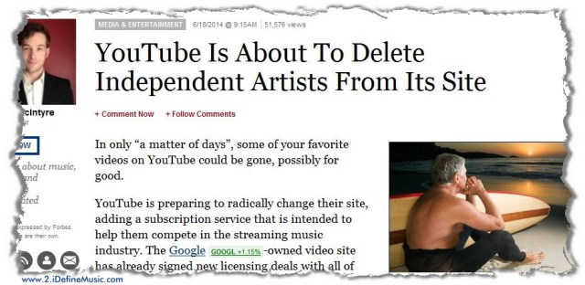 YouTube Removing Indie Music From Its Site