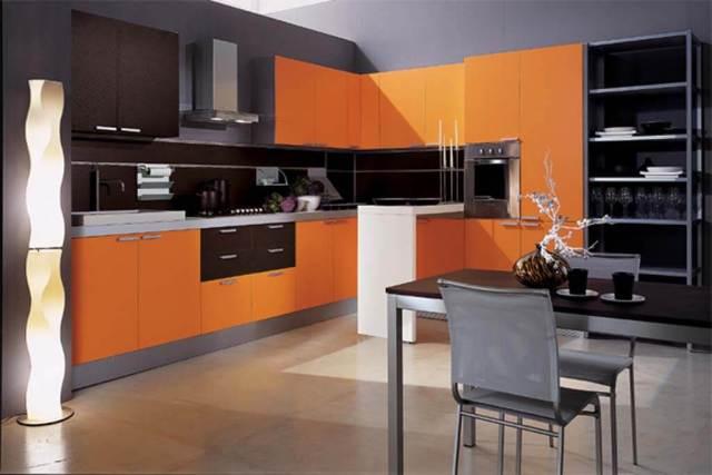 culoarea portocaliu in bucatarie mobilier