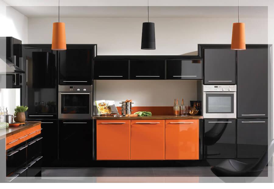 negru portocaliu in bucatarie