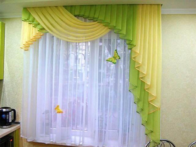 modele de draperii verde galben