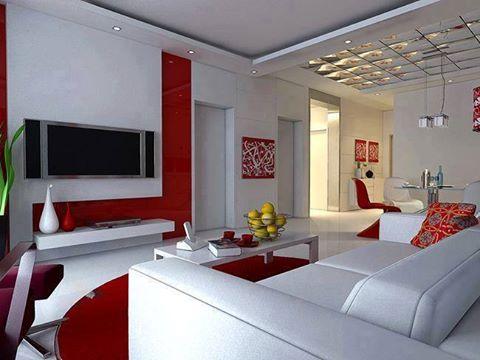 Magia culorilor rosu si alb in living room