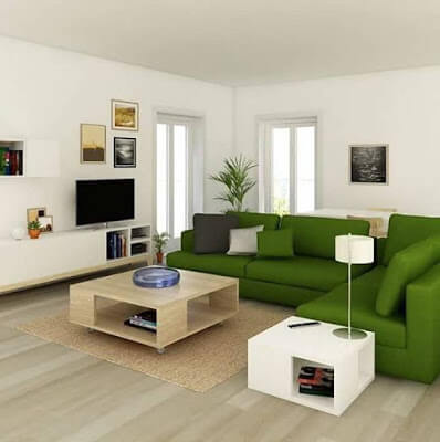 canapea verde in living room
