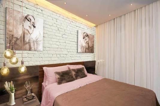 dormitor modern caramida aparenta