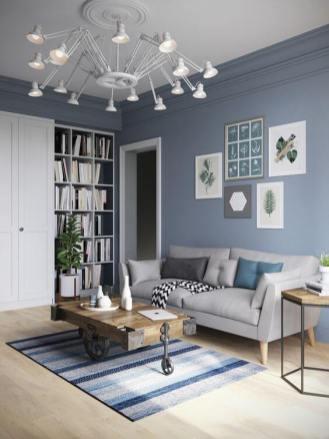 living room albastru cu alb
