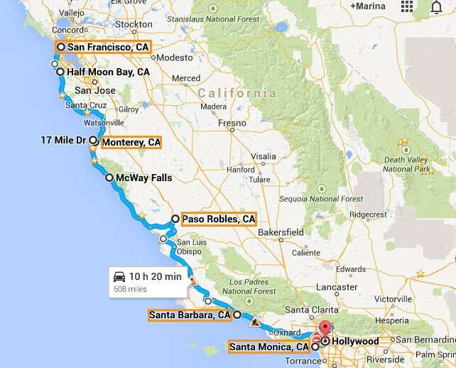 Resultado de imagem para mapa costa californiana de sao francisco a los angeles