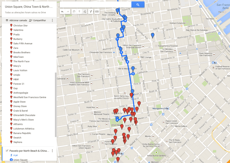 Mapa: Union Square, China Town & North Beach