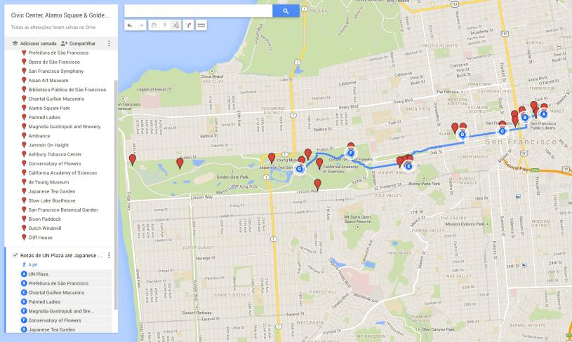 Mapa: Civic Center - Golden Gate Park