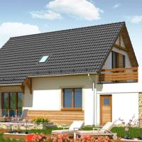Proiect de casa mica cu mansarda si terasa