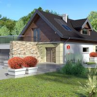 Super proiect de casa moderna cu mansarda si terasa deasupra garajului