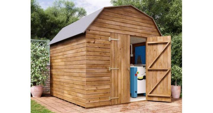 Magazie din lemn tratat Dutch Barn, 2.59x2.5, Dunster House (CELE MAI INTERESANTE MODELE DE CASUTE DE GRADINA DIN LEMN)