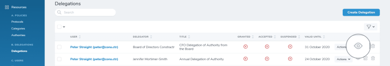 iDelegate | View Delegation of Authority button