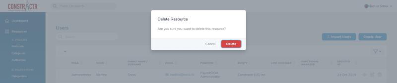 iDelegate | Confirm user deletion