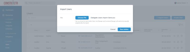 iDelegate | Select import spreadsheet