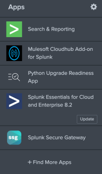 A screenshot of the Splunk sidebar, showing that the Mulesoft Cloudhub Add-on for Splunk has been installed
