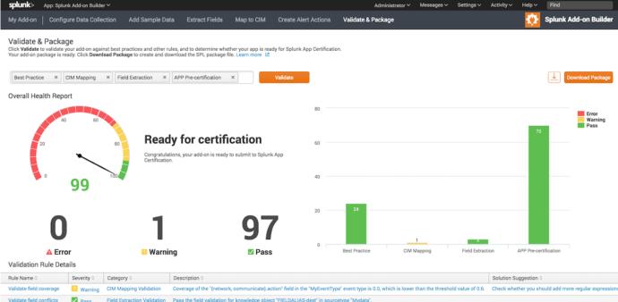 Splunk Add-On Builder Validation Screenshot