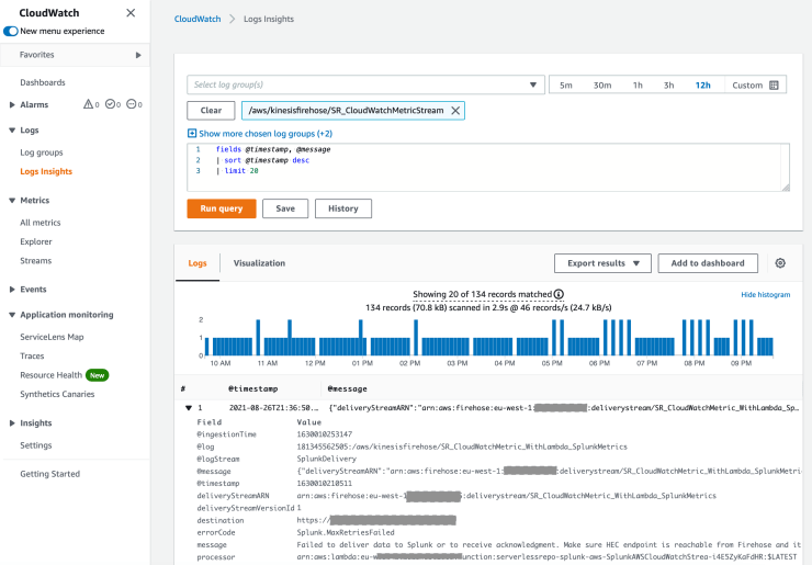 Searching CloudWatch Logs for Issues with firehose and cloudwatch metric streams