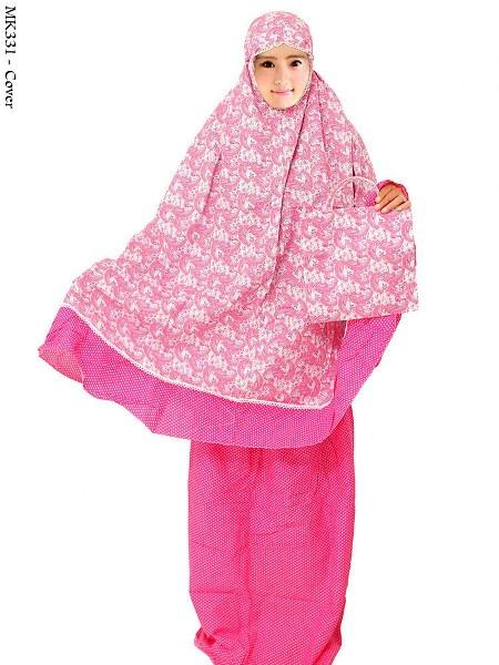 mukenah motif batik keong kombinasi polkadot