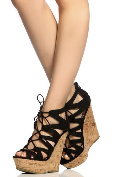 Black Faux Suede Cut Out Lace Up Cork Wedges
