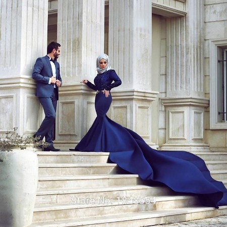deep-blue-beaded-long-sleeve-satin-muslim-wedding-dress