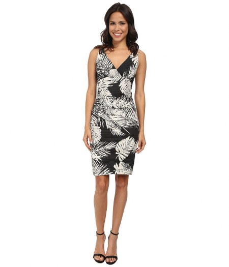 nicole-miller-black-white-krista-palm-batik-cotton-metal-dress-black
