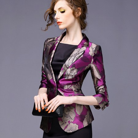 one button leisure women satin blazer floral printing