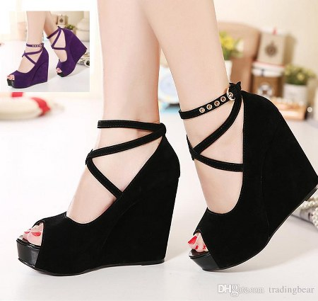 peep toe suede purple wedges black wedges women ankle strap high plarform shoes