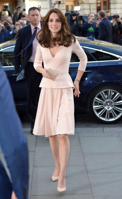 Kate Middleton in Alexander McQueen peplum set, paired with nude pumps