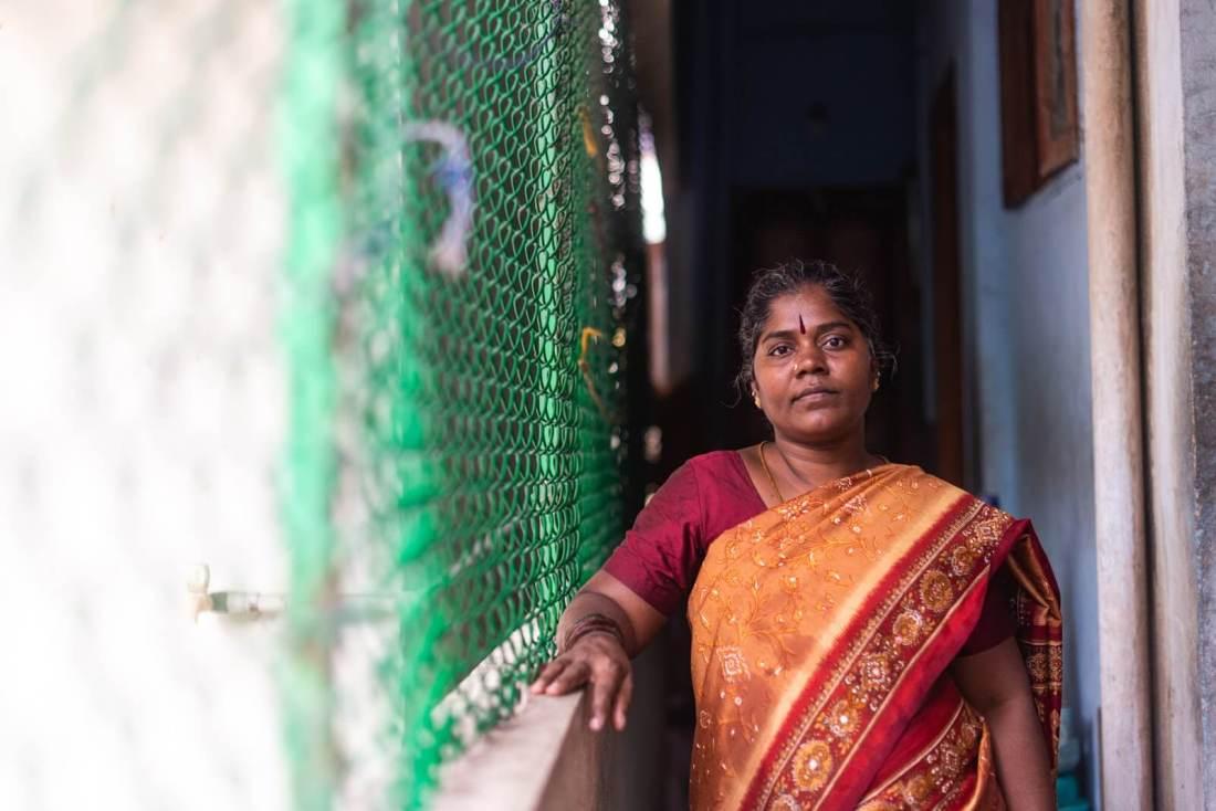 Kannika Arumugam at her home in Chennai, India. Photo credit: Gayatri Nair