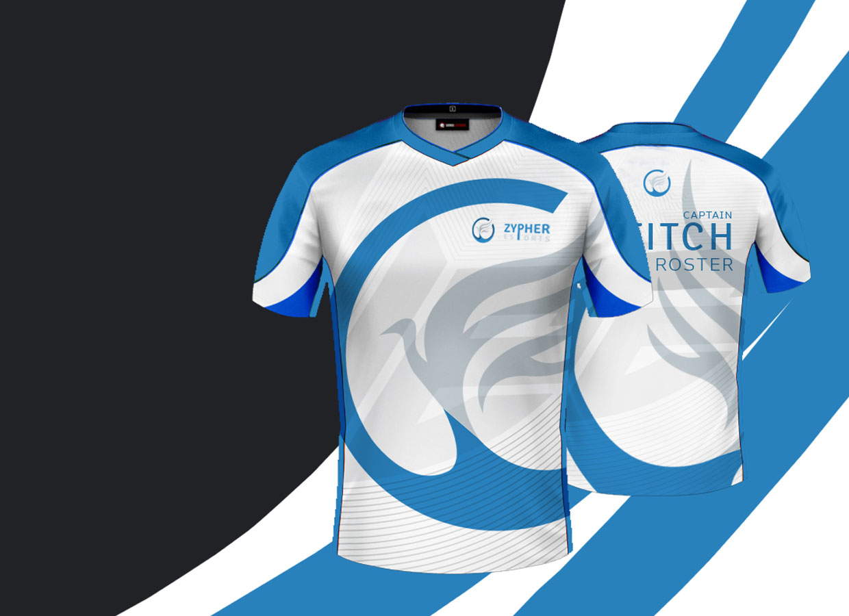 Zypher E-sports shirts front and back design.