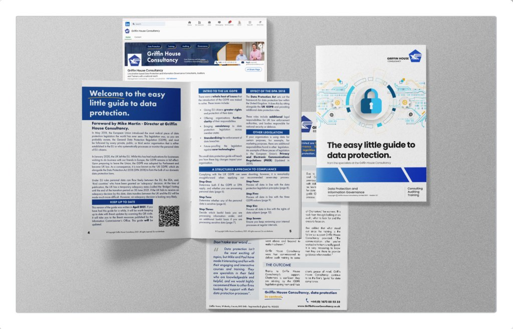 Brochure examples, blue and white design