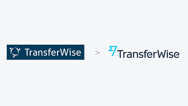 Transferwise logo before and after