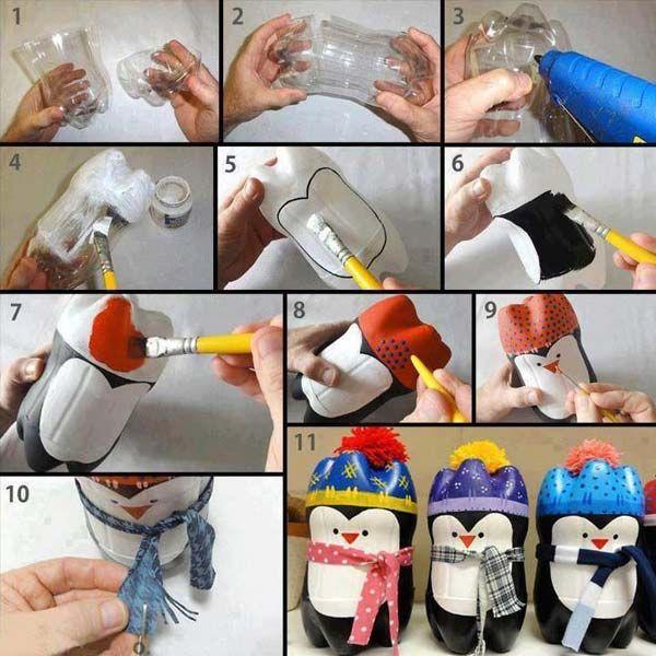 boneka pingui dari botol plastik - IDEPROPERTI.COM