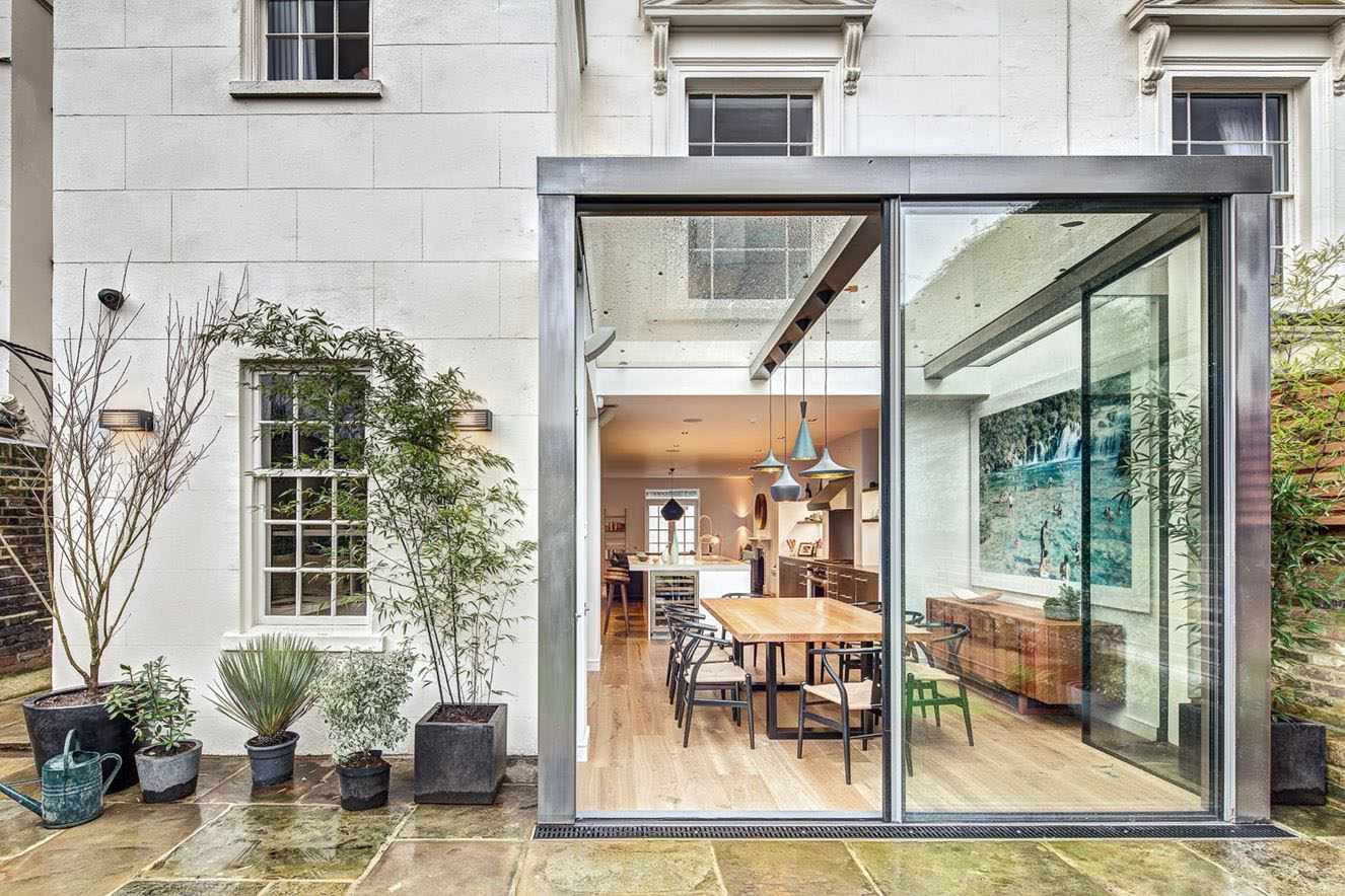 Modern Steel And Glass Rear Extension Of A Victorian Semi