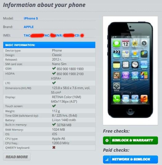 Check IMEI di IMEI.info iPhone