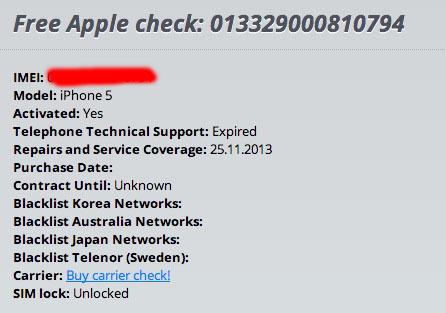 Check Status IMEI iPhone