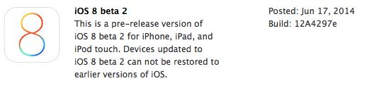 Info iOS 8 Beta 2 di Halaman Dev Center Apple