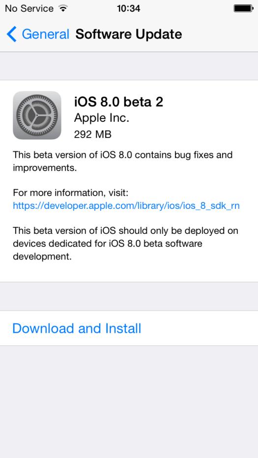 Inilah Ukuran File OTA Update iOS 8 Beta 2