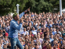 Pharrell Performs At Apple's Earth Day Celebration Wearing The Apple Watch