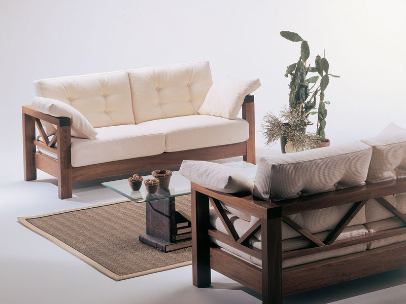 Sofa With Exposed Wood, Simple Design, For Attic