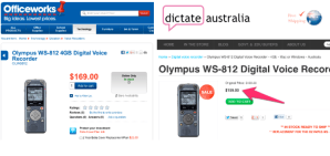 Dictate Australia and Officework Olympus WS-812 digital voice recorder