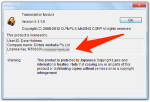 Olympus ODMS DSS Player Pro transcription module licence key serial number
