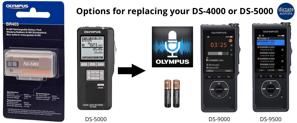 Olympus DS-4000 DS-5000 battery BR403 discontinued - what options now?