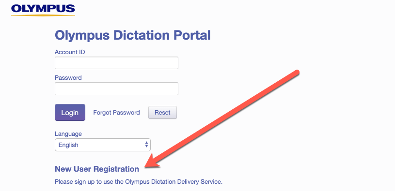 Olympus ODDS Dictation Portal New User Registration